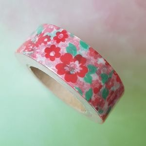 NEW Red Pink Green Floral Washi Tape (15mm X 10m)